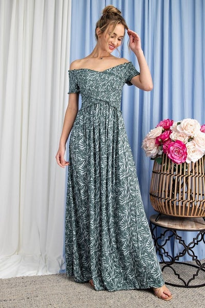 Sage Tropical Leaf Smocked Twisted Front Maxi Dress