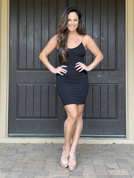 Black Textured Fitted Cami Style Mini Dress