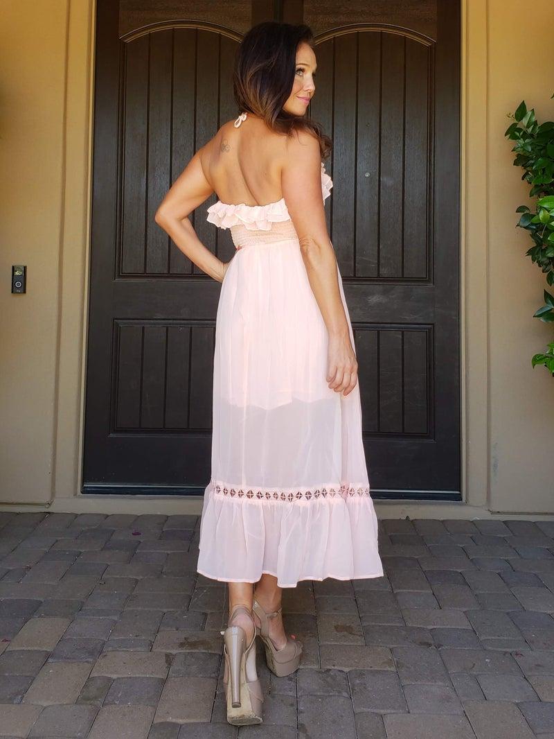 Pink Frilly Ruffle & Chiffon Smocked Tea Length Dress