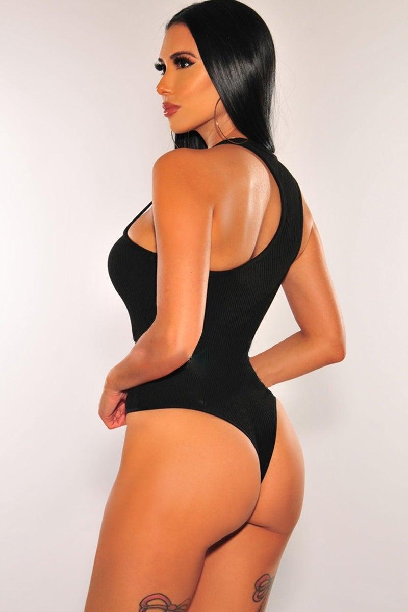 Black Ribbed Asymmetrical Thong Bodysuit
