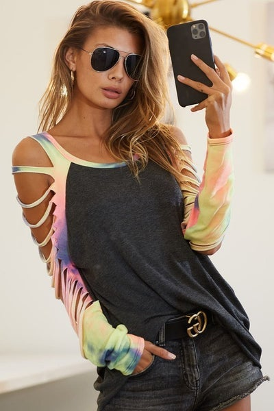 Charcoal & Tie Dye Jersey Knit Laser Cut Long Sleeve Top