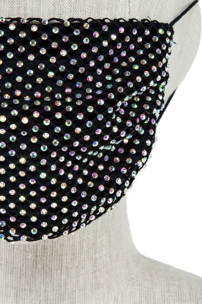 SURPRISE Lined Fishnet/Mesh Rhinestone Fashion Face Mask