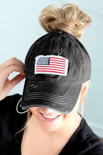 Black Distressed American Flag Messy Bun Hat