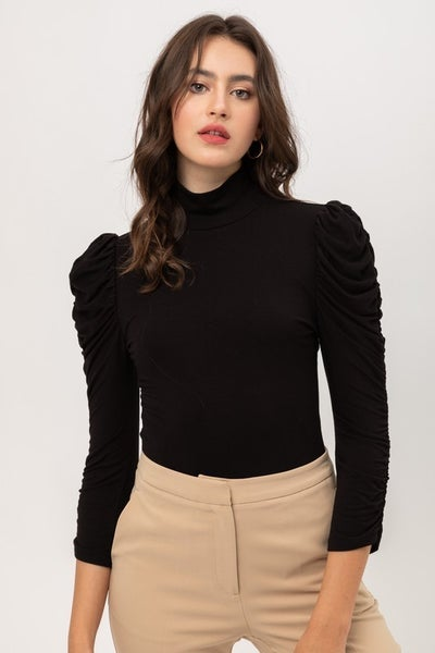 Black Ruched Long Sleeve Mock Neck Bodysuit