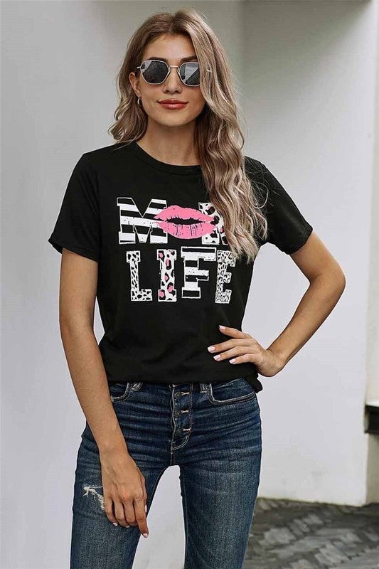 Leopard & Stripe MOM LIFE Lipstick Tee