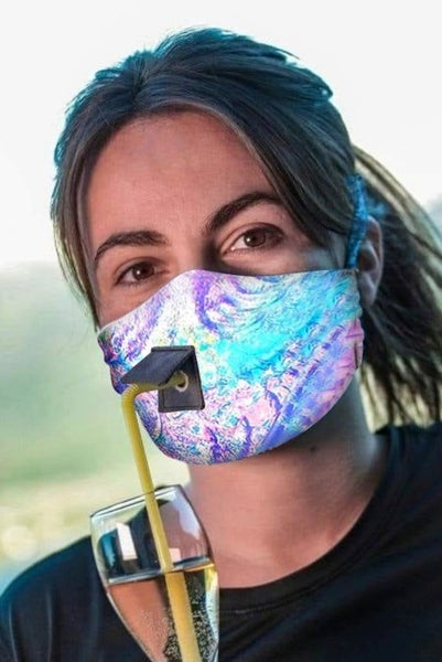 Multicolor Reusable Face Mask with a Staw Hoe and Flap Cover