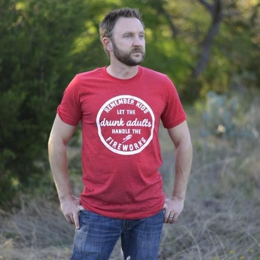 Red DRUNK ADULTS & FIREWORKS Crew Neck Tee