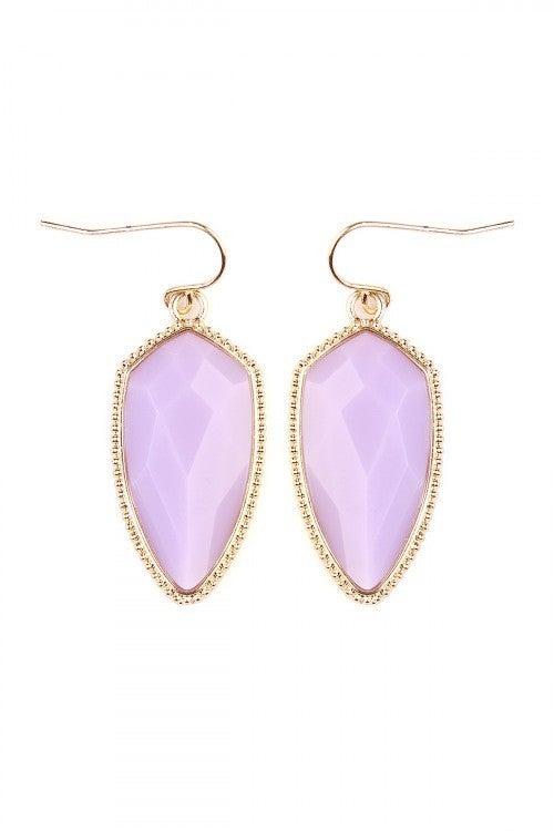 Lavender Shield Gem Cut 2 inch drop earrings