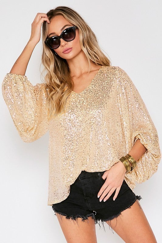All over Sequin V-Neck Baloon Sleeve Top