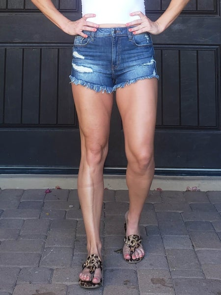"Dark Wash High Rise Distressed and Frayed Hem Denim Shorts (2.5"" inseam) *Final Sale*"