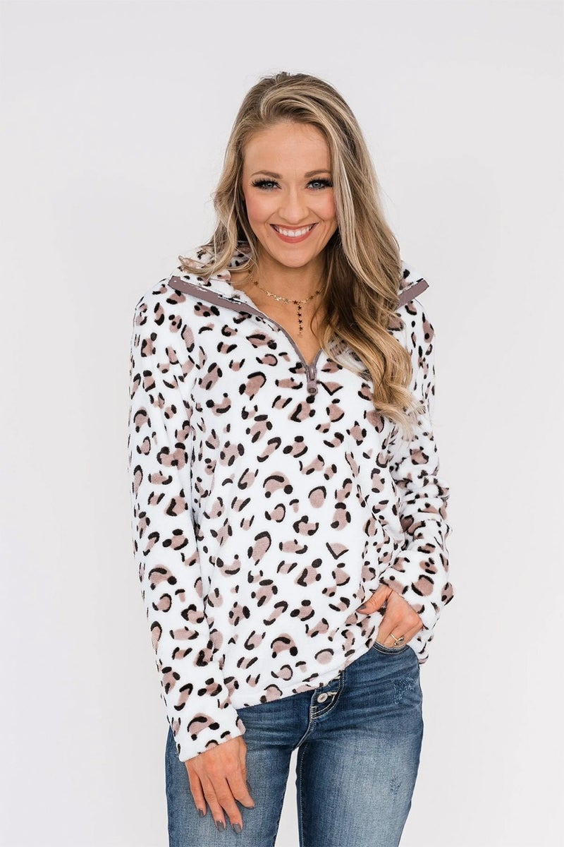 Leopard Quarter Zip Pullover with POCKETS