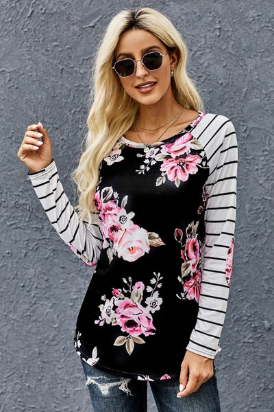 Black & Pink Floral Stripe Elbow Patch Baseball Long Sleeve Top