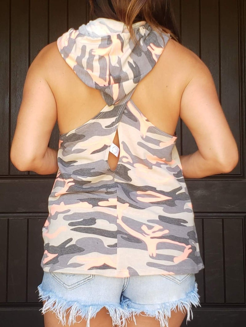 Coral Camo Sleeveless Criss Cross Open Racer Back Kangaroo Pocket Hoodie