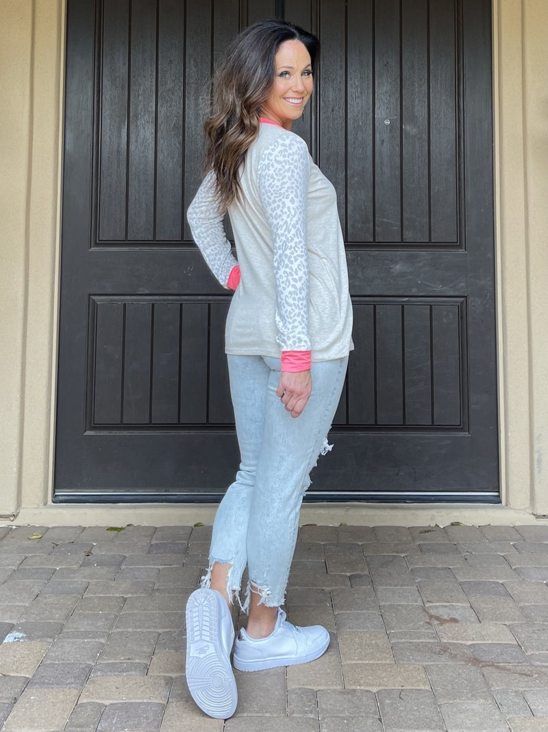 Muted Oatmeal Leopard & Pink Long Sleeve Top