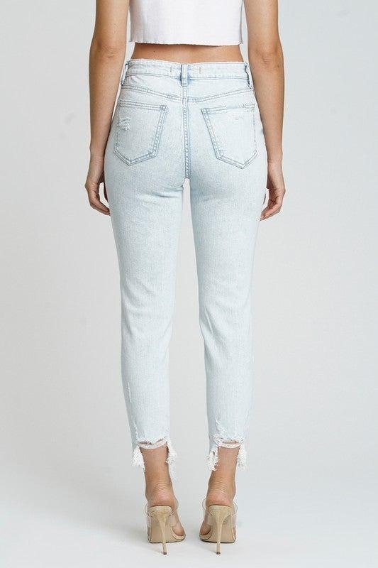 Light /White Wash Super High Rise Destroyed Knee Raw Cut Hem Skinny Mom Jeans