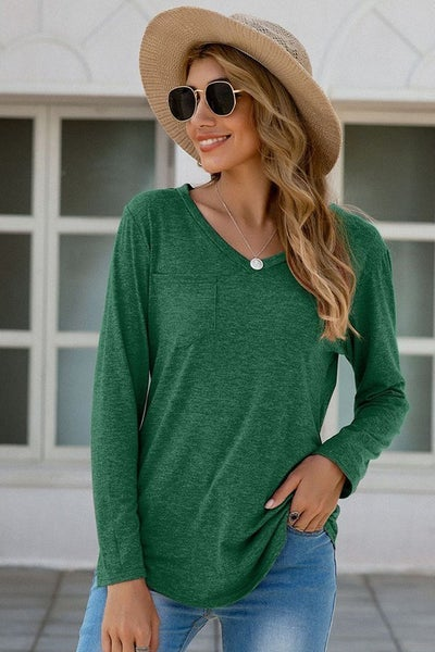 Heathered V Neck Long Sleeve Pocket Tee