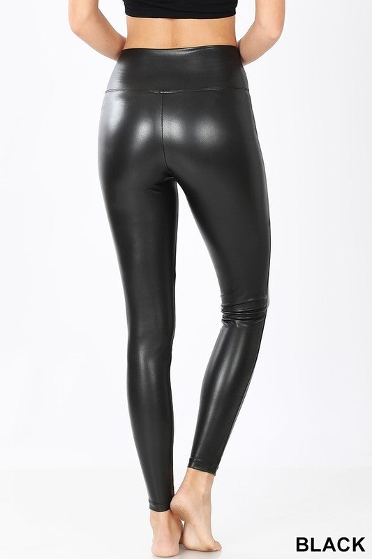 Black Faux Leather Leggings with Wide Waist Band