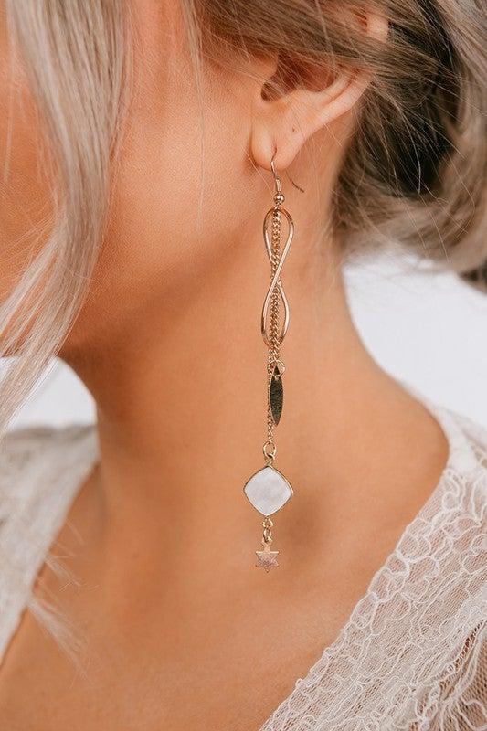 "Rose Gold & White Infinity Star 4.75"" Drop Dangle Earrings"