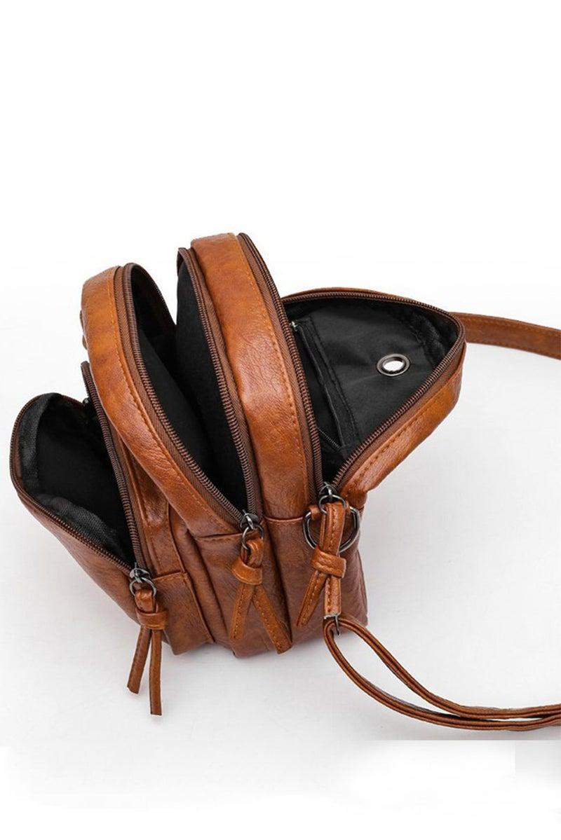 Brown Vegan Leather Cross Body Messenger Bag