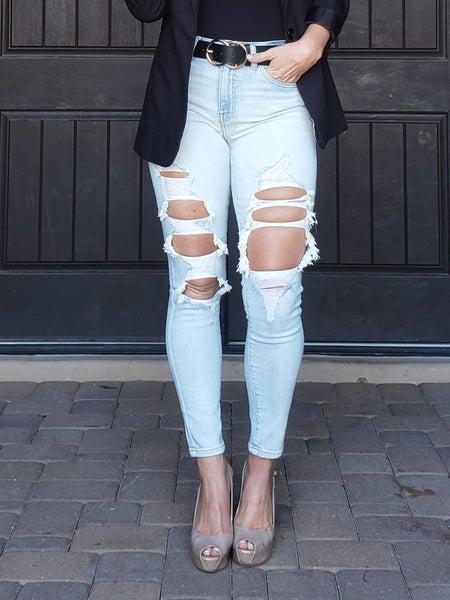 Light Wash Super High Rise Destroyed Thigh Threadbaring Skinny Jeans