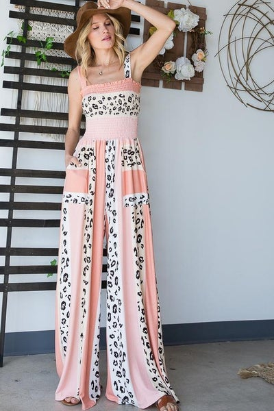 Salmon Leopard Colorblock Smocked Bodice Knit Wideleg Jumpsuit