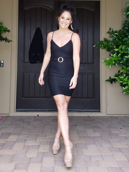 Black Spaghetti Strap V-Neck Belted Bodycon Dress *Final Sale*