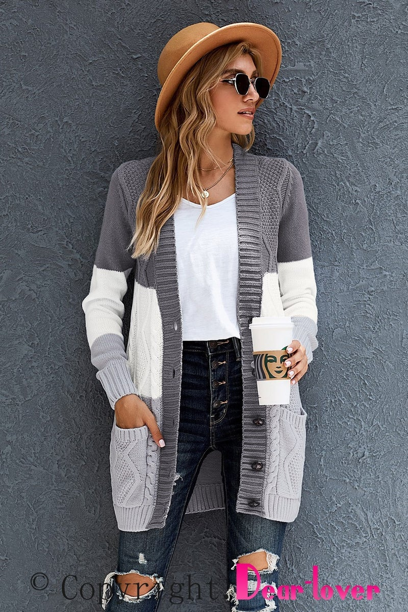 Charcoal Grey & White Colorblock Front Pocket Button Closure Long Line Cardigan