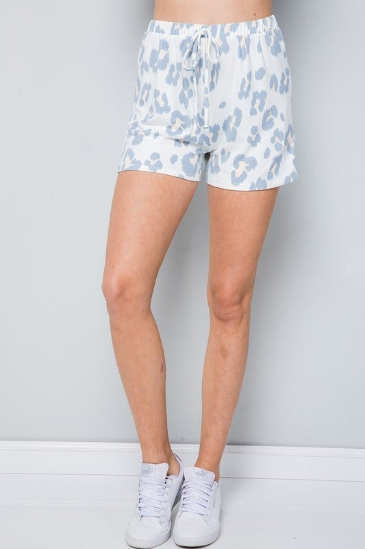 Ivory Snow Leopard Off the Shoulder Top & Shorts Loungewear Set
