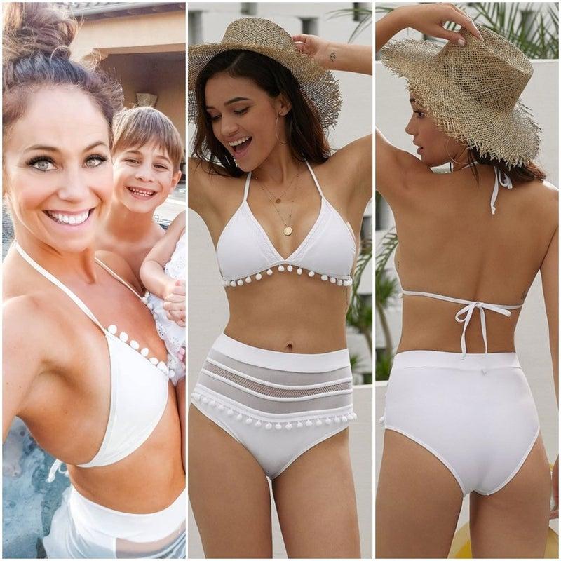 Pom Pom Mesh Insert High Waist Bikini