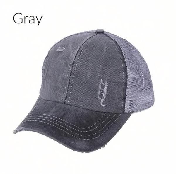 Distressed Criss Cross Ponytail/Messy Bun Baseball Hat