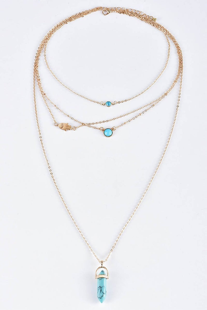 Gold & Teal Gemstone Pendant Multi-Layered Necklace