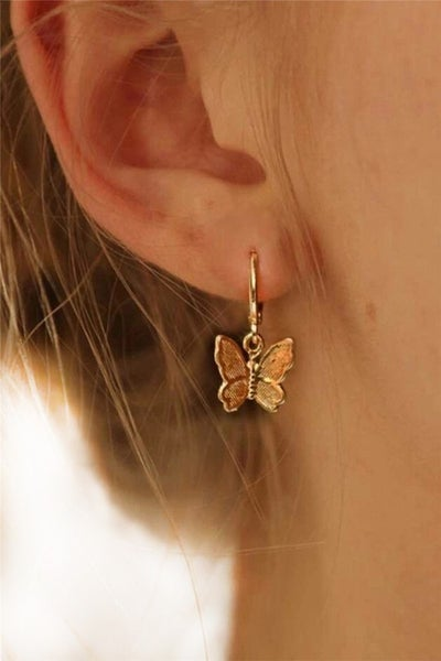 Gold Butterfly Pendant Hoop Earrings