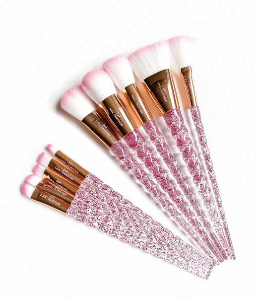 10 Piece Pink Unicorn Face & Eyes Makeup Brush Set