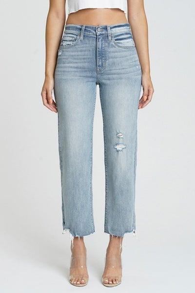 Dawn Light Wash High Rise Wide Leg Raw & Frayed Hem Cropped Jeans