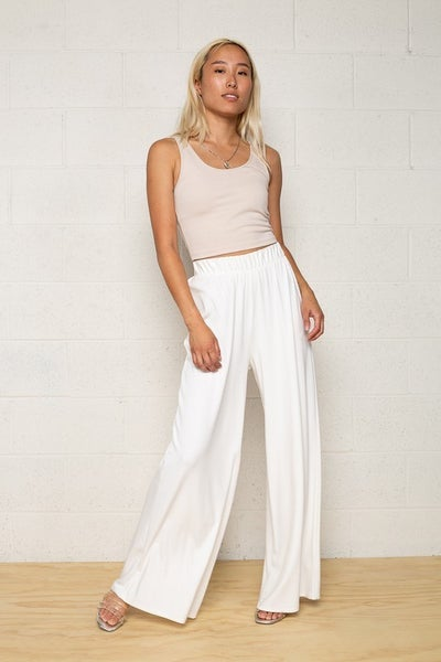 White Wide Leg Jersey Knit Palazzo Pants