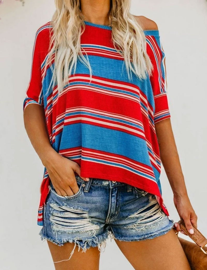 Stripe 3/4 Sleeve Loose Asymetrical Fit Top