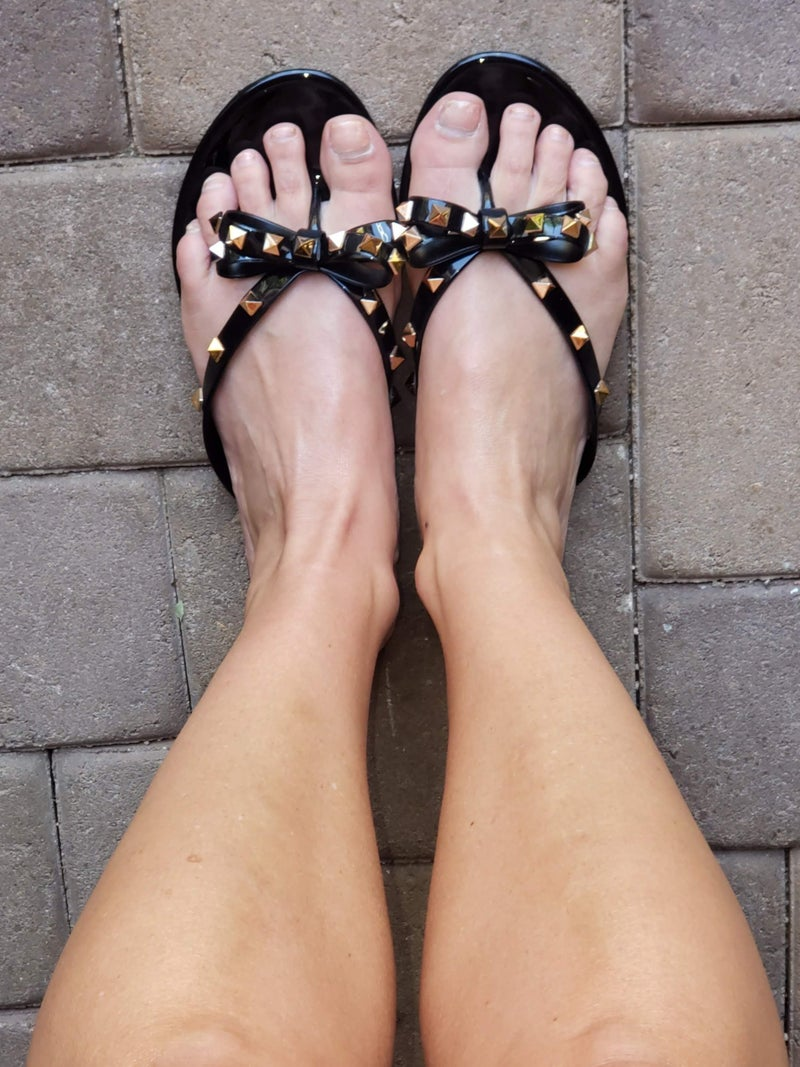 Black Spiked Studded Bow Jelly Sandals *Final Sale*