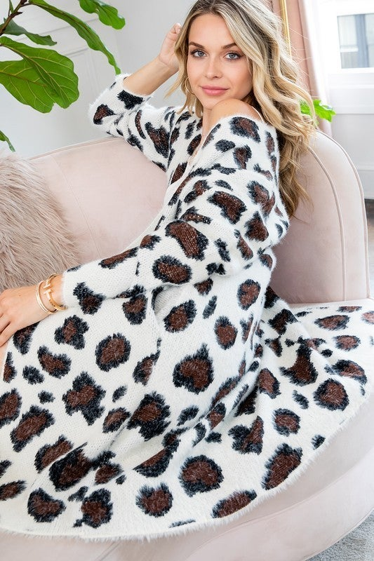 Ivory Black Fuzzy Leopard Loose Fit Long Line Sweater Cardigan