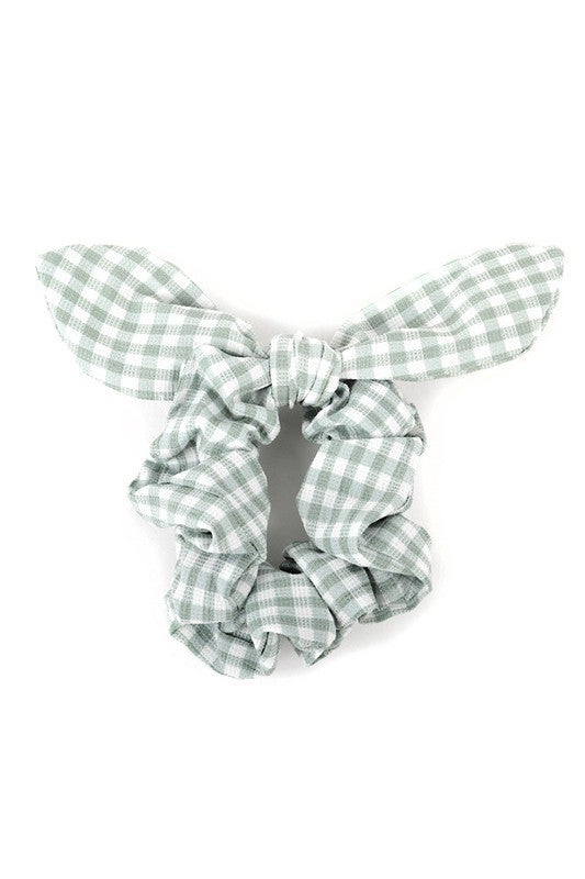 Surprise Gingham Check Wire Bow Scrunchie