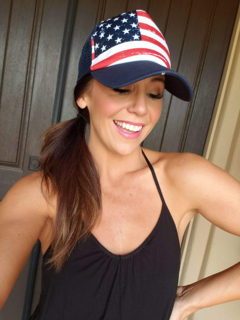 American Flag Mesh Snap Back Trucker Hat