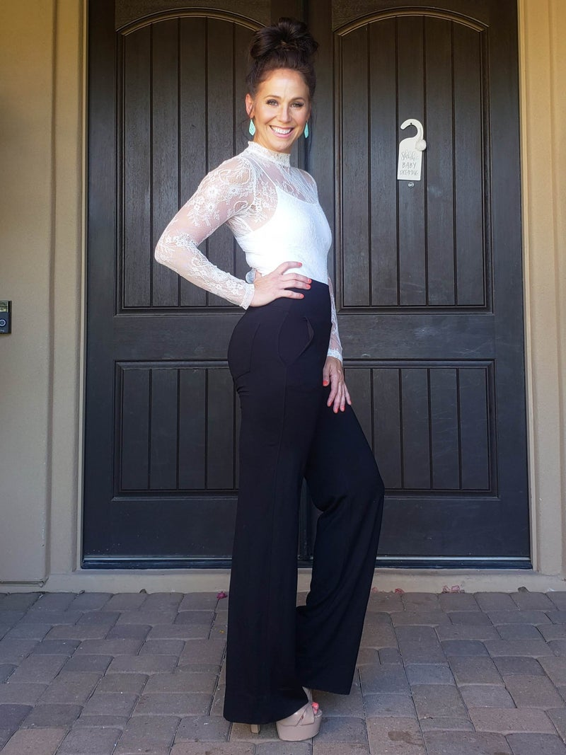 White Lace Long Sleeve Mock Neck Bodysuit
