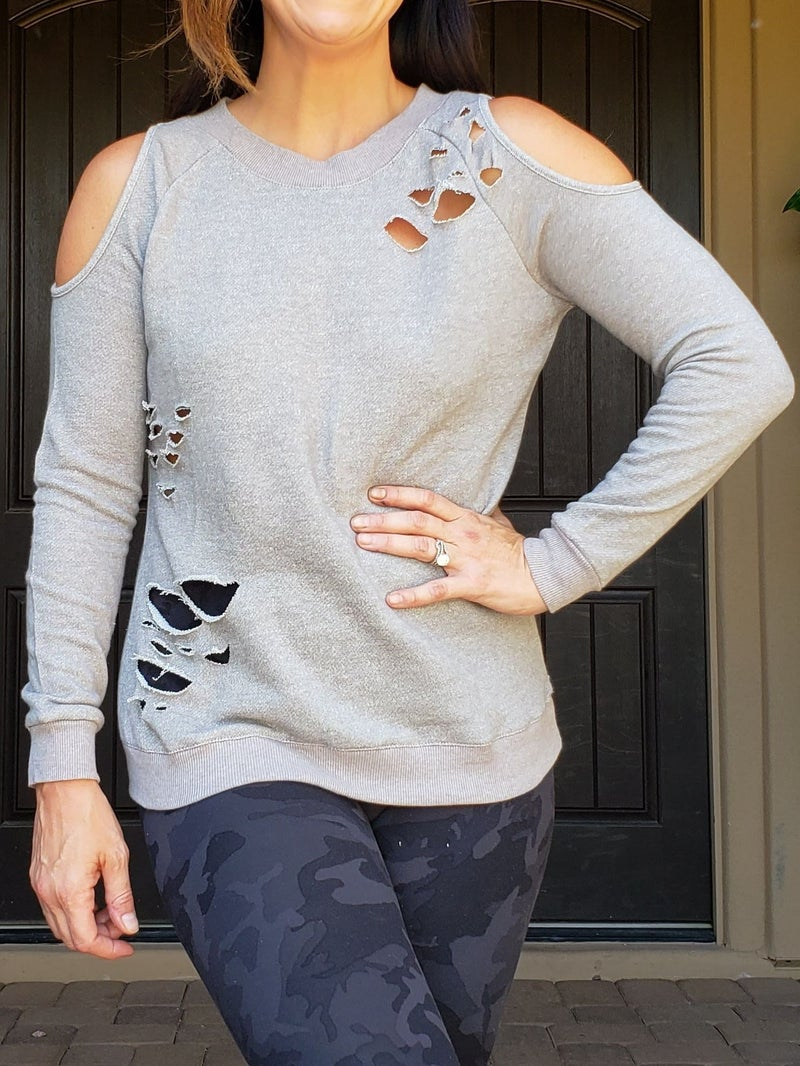 Distressed Cold Shoulder Lightweight Sweatshirt