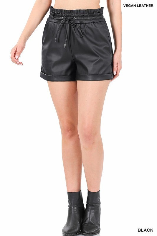 Vegan Leather PaperBag Shorts