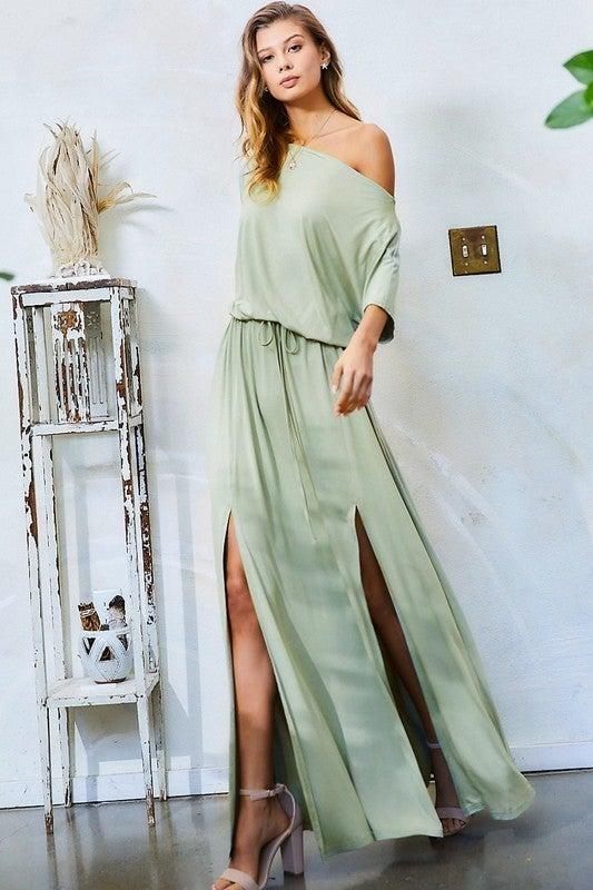 Sage BoatNeck Off the Shoulder Deep Slit Jersey Knit Maxi Dress