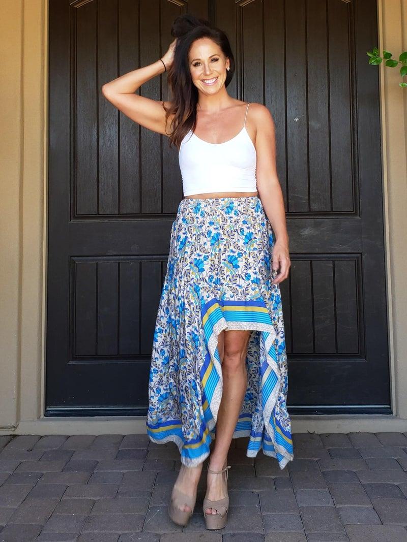 Blue Floral Smocked Wasit Hi-Low Ruffled Maxi Skirt