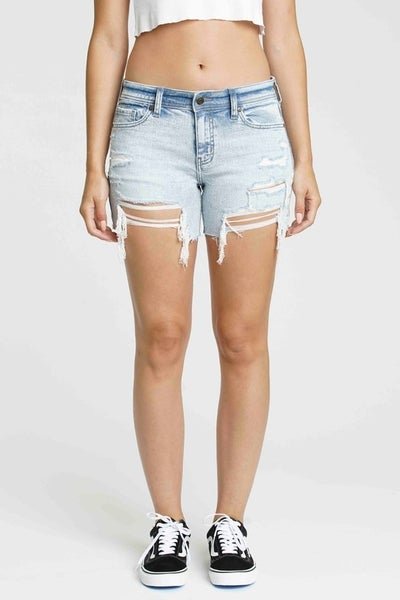 Light Wash Mid Rise Hang Loose Destroyed Raw Cut Hem Denim Shorts
