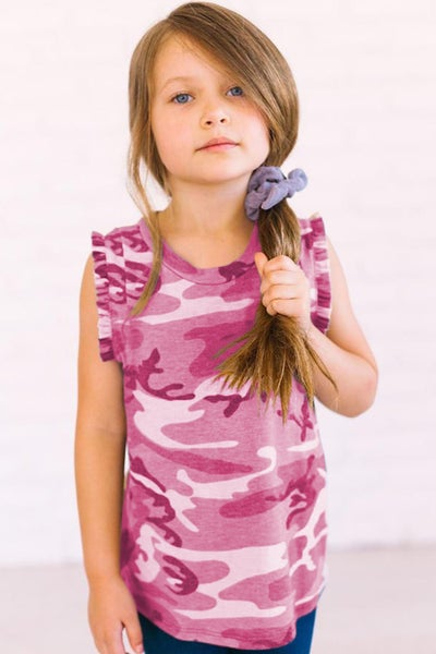 Kids Camo Flounced Sleeveless Tank