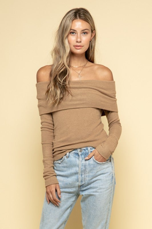Khaki Cashmere Ribbed Folded Off the Shoulder Lightweight Sweater