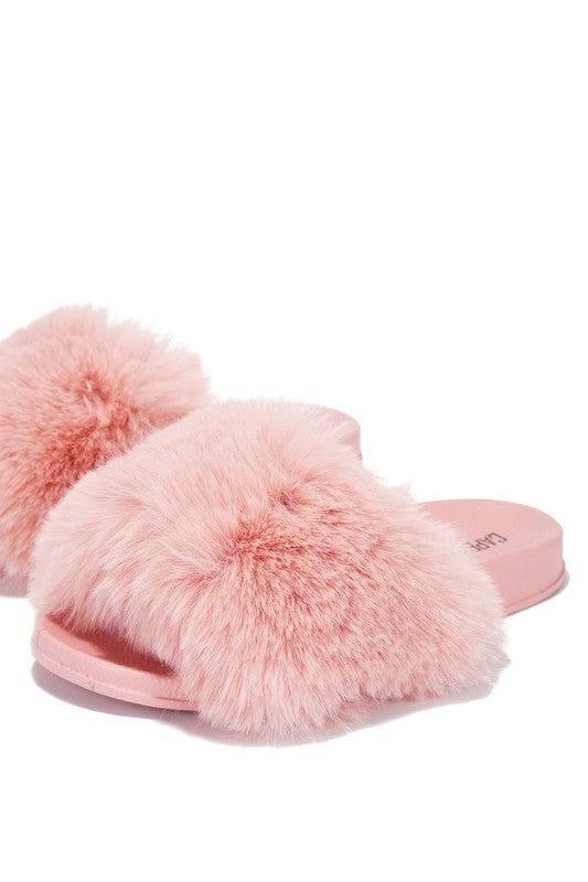 Blush Pink Faux Fur Wide Band Slides