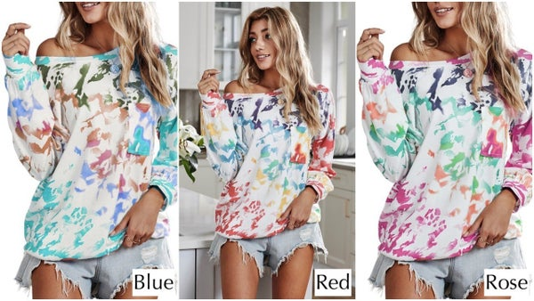 Multicolor Tie Dye Wide Neck Off the Shoulder Long Sheeve Top